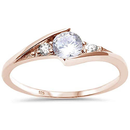 (Princess Kylie Tension Set Clear Cubic Zirconia Round Ring Rose Gold-Tone Plated Sterling Silver Size 4)