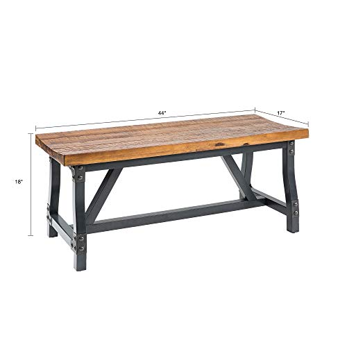 Ink+Ivy Lancaster Standard Dining Bench - Solid Wood, Metal Base Seating Bench - Amber Wood, Industrial Rustic Style Bench - 1 Piece Metal Frame Wooden Top Seating Bench for Dining Room by Ink+Ivy (Image #3)