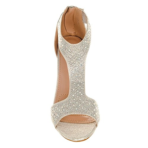 toe Diva Shoes Donna Peep Silver Miss SUpwxRqt