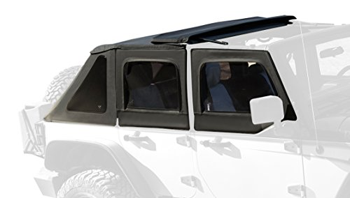 Rampage Products 139835 TrailView Fold-Back Soft Top for 2007-2018 Jeep Wrangler JK Unlimited 4-Door, Black Diamond Sailcloth w/Tinted Windows