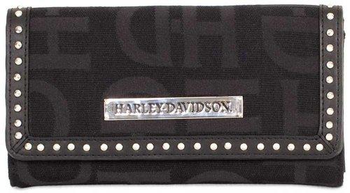 Harley-Davidson Womens Black H-D Logo Jacquard Clutch Wallet HD3480J-BLACK - Logo Clutch Wallet