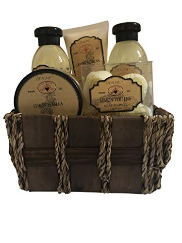 Lemon Verbena Bath Gift Basket Set in 170ml shower gel, 100ml body lotion, 170ml bubble bath, 120ml body scrub, 12g soap flower (Scented Soap Bath)