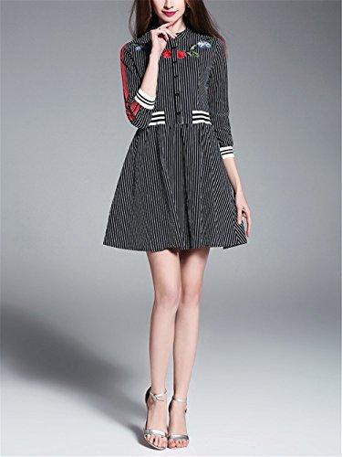 Short Dresses 3 Short Women's Casual Cotton SYGoodBUY Sleeve Neck Dress Stripe Black Embroidered Shirt 4 123 Round tSpwf