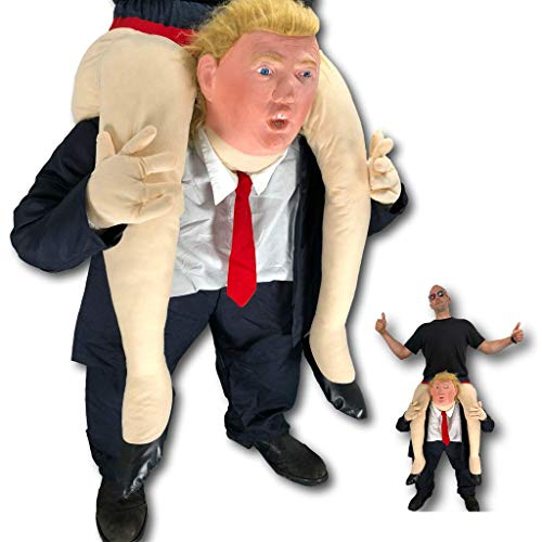 Rubber Johnnies TM Piggy Ride On Back Donald Trump Costume, Donald Trump Mask, USA President -