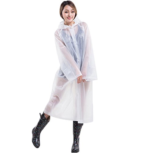 QHUMO Portable Rain Poncho Jacket for Women Men, Drawstring Raincoat with Hood and Sleeves for Adults Outdoor