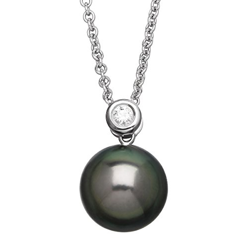 Honora Tahitian Freshwater Cultured Pearl Pendant Necklace with Diamond in Sterling Silver Designer Si2 Necklace
