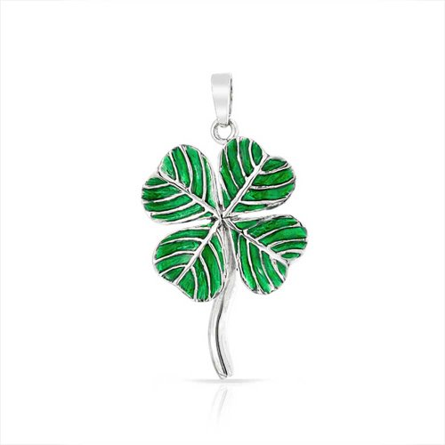 Irish Shamrock Green Good Luck Charm 4 Leaf Clover Pendant Necklace For Women For Teen 925 Sterling Silver