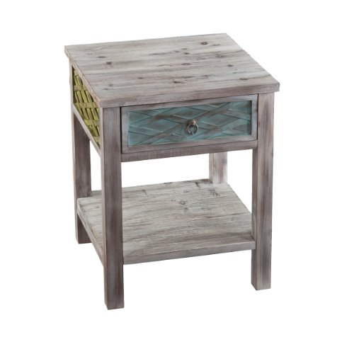 Southern Enterprises Dharma End Table, White Washed Weathered Fir with Multicolor Finishes