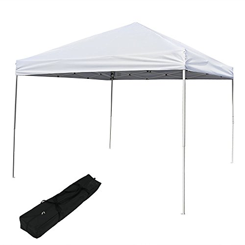 Sunnydaze Pop Up Canopy Tent 10 x 10 Foot with Outdoor Carrying Bag, White