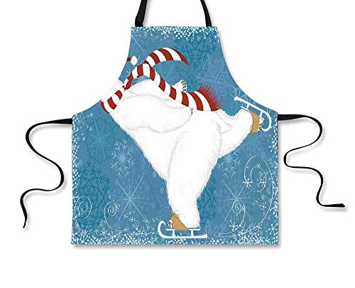 GOOESING Personality Apron,Bear,Polar Bear with Christmas Hat and Scarf Ice Skating Ornate Snowflakes and Swirls Decorative,Blue Red White,Picture Printed Apron - Ice Skating Polar Bear