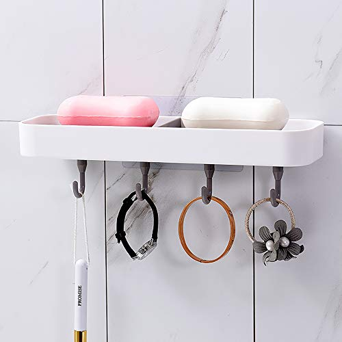 KSWLLO Adhesive Soap Dish with Hooks for Shower, No Drilling Soap Holder with Drain for Bathroom Kitchen Sink