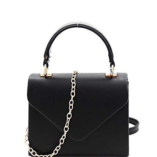 Mini Top-Handle Retro Box Flap PU Leather Satchel Crossbody Neon (Black)