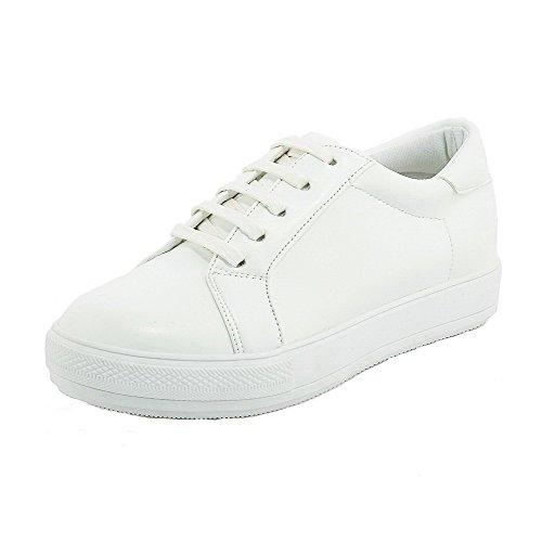 AllhqFashion Damen Rund Zehe Mittler Absatz Blend-Materialien Gemischte Farbe Schnüren Pumps Schuhe Weiß