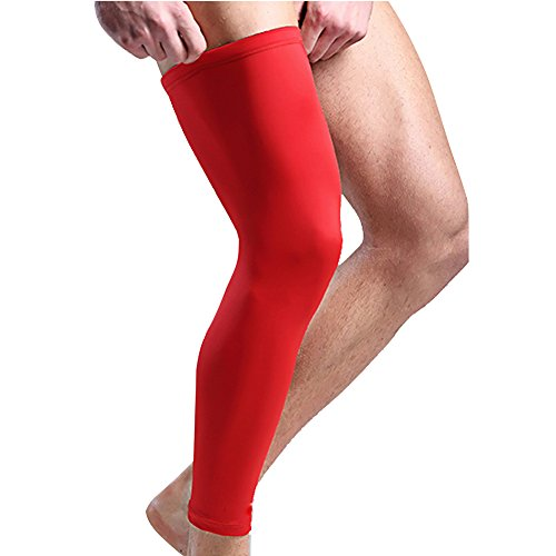LEIMI Best Protector For Shin Splint & Cramps Compression Sleeve Non-slip Breathable Leg Support Socks For Running, Basketball & Court Sports For Men & Women (Red, X-Large)