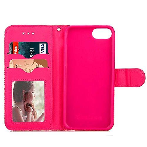 JIALUN-carcasa de telefono Cubierta de la caja de IPhone 7 con una ranura para tarjeta, hebilla magnética Patrón hermoso plano Abrir el teléfono Shell para Apple iPhone 7 4.7 pulgadas ( Color : Green  Red