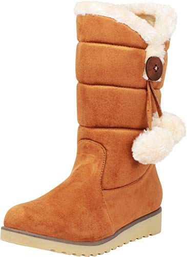 Cambridge Select Women's Faux Fur Pom Pom Quilted Mid-Calf Boot,8 B(M) US,Camel IMSU