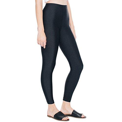 DixperfectWomens Shiny Nylon Tricot Leggings Disco Pants Sports Yoga Capris (M, Black)