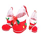 Fully 3er/Set (S,M,L) Christmas Stocking Sock Mesh Gift Candy Bag Organza Pouche Drawstring