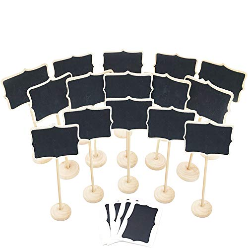 E-Conoro Mini Chalkboard, 15 Pcs Wooden Mini Chalkboards with Stand, Small Chalkboard Sign Food Signs Food Labels for Party, Buffet, Wedding, Price, Table Number Cards, Restaurant and Store
