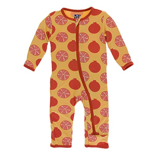 (Kickee Pants Little Girls and Boys Print Coverall with Zipper - Marigold Pomegranate, 4T)