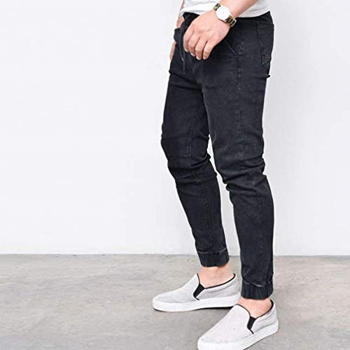 Stretch Skinny Pantaloni Men's Abiti Casual Comode Nero Destroyed Fashion Denim Jeans Taglie R Fit Strappato Mid Slim Straight Vita wqPZg6W