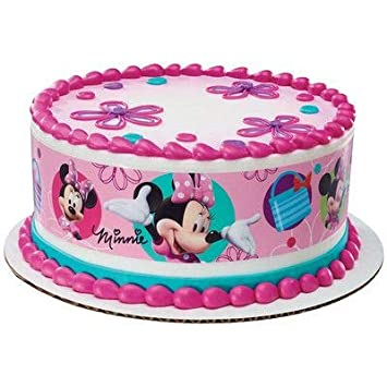 Minnie Mouse Designer Edible Cake Borders Cake Topper Amazon Com