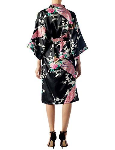 iP Accappatoio E Midi Moda Kimono Pr Fiore Stile Giapponesi Dei Nero iB Pavone Donna 6dxSzqwTnT