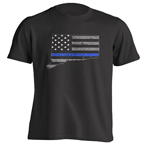 Connecticut US Flag With Thin Blue Line - Police Suport - T-Shirt