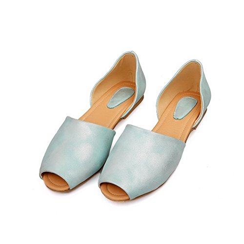 VogueZone009 Womens Open Peep Toes Embossed?Leather PU Solid Sandals Lightblue WuTCt9