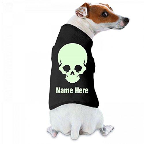 Custom Name Glow In The Dark Text Skull Dog Tee: Doggie Skins Dog Tank Top (Customize Dog Shirts)