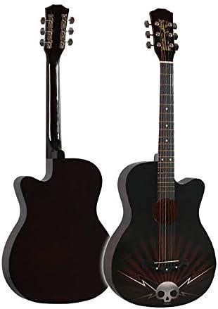 クラシック ギター アコーステ 38インチギターフォークぬりえ学生のためのパーソナライズされたアコースティックギター初心者の練習ギターユニバーサルインスツルメント 初心者および子供向け (色 : Skull pattern, Size : 38inch)