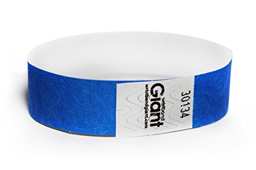 Wristband Giant 3/4 Tyvek Radiance(TM) GLOWS Under Black Light Wristbands 500 box Event Identification Bands -
