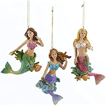 Amazon.com: Kurt Adler Resin Mermaid Christmas Tree Ornaments (3 ...