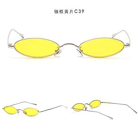 Sunyan hombres y mujeres individuales, gafas de sol mini pequeña oblata elíptico gafas de metal en polvo tide,Marco plateado C13: Amazon.es: Deportes y aire ...