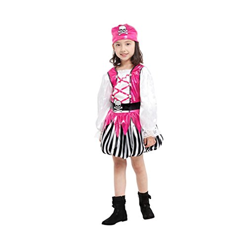 Spooktacular Girls' Pink Pirate Costume Set with Dress, Hat, Vest, Belt, (Party City Girl Pirate Costume)