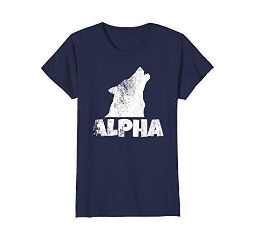 Womens Alpha Lone Wolf T-shirt Pack Member Wildlife Howling Tee Large Navy -