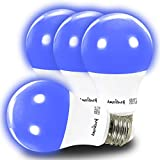 AmeriLuck Blue Colored A19 LED Light Bulb, 60W Equivalent (7W), E26 Medium Scew Base, 2-Year Warranty (4 Pack)