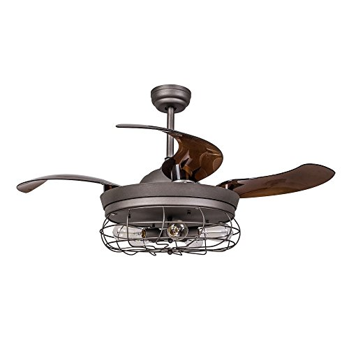 Parrot Uncle Ceiling Fan with Light 46 Inch Industrial Ceiling Fan Retractable Blades Vintage Cage Chandelier Fan with Remote Control, 5 Edison Bulbs Needed, Not Included, Antique Grey (Ideas Ceiling Patio)