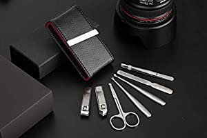 Manicure Set for Men,7 In 1 Stainless Steel Pedicure Kit for Girls, Nail Scissors,Grooming Kit with Nail Clippers, Multi-Purpose Scissors, Cuticle Trimmer, Ear Pick, Eyebrow Tweezer, Nail File,Leat