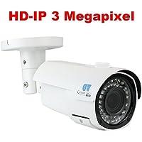 GW Security 3 Megapixel 2048 x 1536P HD IP PoE 2.8-12mm Varifocal Zoom Onvif Weatherproof Network Bullet Security Camera