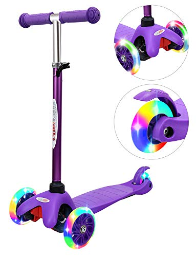 ChromeWheels Scooter for Kids, Deluxe 4 Adjustable Height 3 Wheels Glider with Kick, Lean to Steer with LED Flashing Light, Purple ()