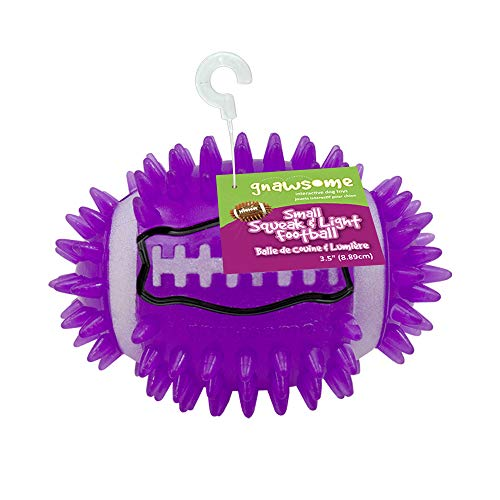 """Gnawsome 3.5"""" Spiky Squeak & Light Football for Dogs - Durable, Rubber Bouncy Puppy Fetch & Chew Toy for your Pet, Colors will vary"""