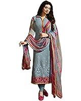 Crazy Grey Georgette Women's Salwar Suit Dress Material (12507_Zubeda_Free Size)