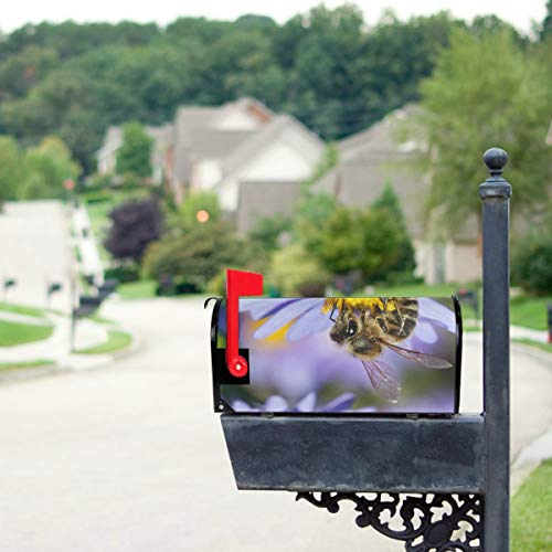 (THKDSC Honey Bee Pollinate Yellow Flower Mailbox Covers Standard Size Original Magnetic Mail Cover Letter Post Box 21