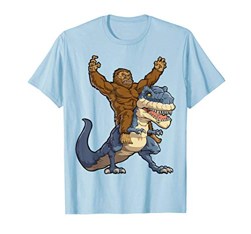 Bigfoot Sasquatch Riding Dinosaur T rex T shirt Funny Gifts -
