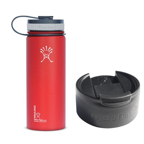 Hydro Flask 18oz Wide Mouth Water Bottle with 2 Caps (Wide Mouth Cap and Flip Lid),Lychee Red