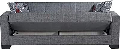 BEYAN SB 2019 Gray Vermont Modern Chenille Fabric Upholstered Convertible Sofa Bed with Storage