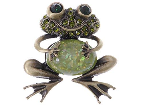 Alilang Brass Tone Peridot Green Colored Rhinestones Animal Smiley Frog Brooch Pin
