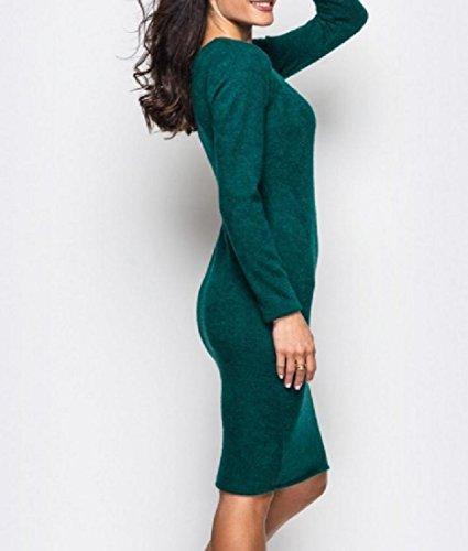 Confortables Femmes Manches Longues Couleur Pure Coupe Slim En Velours Vert Moyen Robe De Longueur