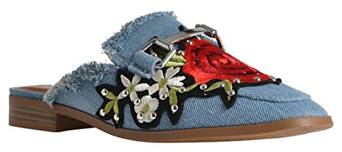 Women's Gold Plated Slide On Slip On Mule Loafer Flats Shoes by LUSTHAVE Embroidered Flower Patches Blue Denim (Denim Mules)